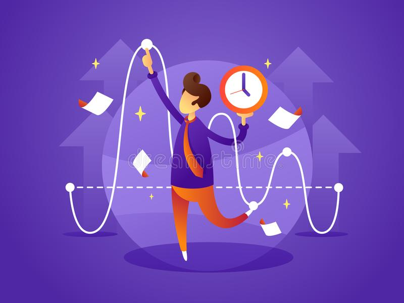 Business manager controls organize time stock illustration
