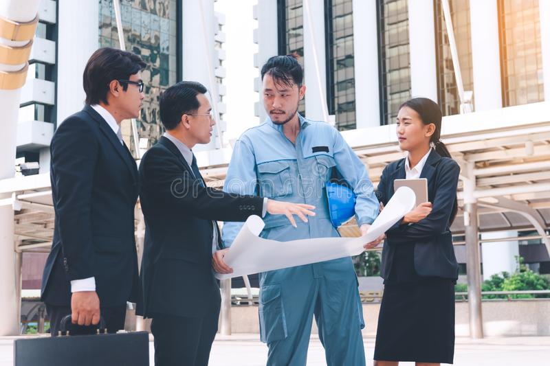 Business manager and engineer meeting project at construction si royalty free stock image