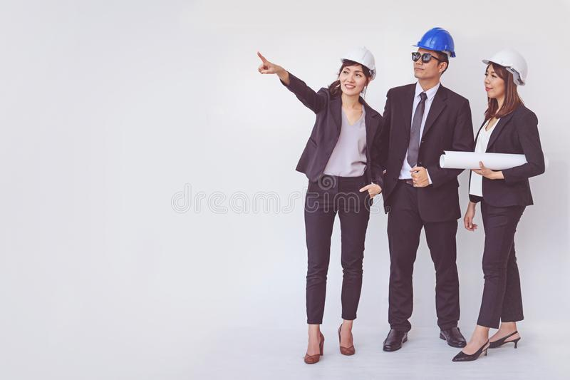 Business manager and engineer meeting project at construction si. Te, work royalty free stock image