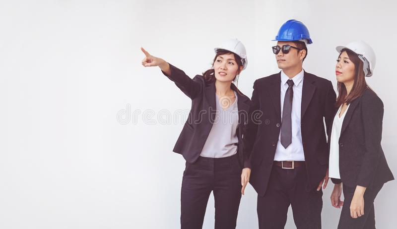 Business manager and engineer meeting project at construction si. Te, work royalty free stock photo