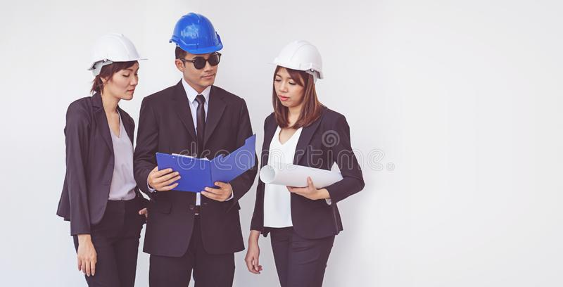 Business manager and engineer meeting project at construction si stock photography