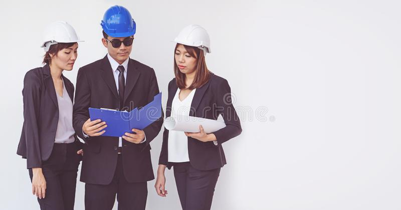 Business manager and engineer meeting project at construction si stock images