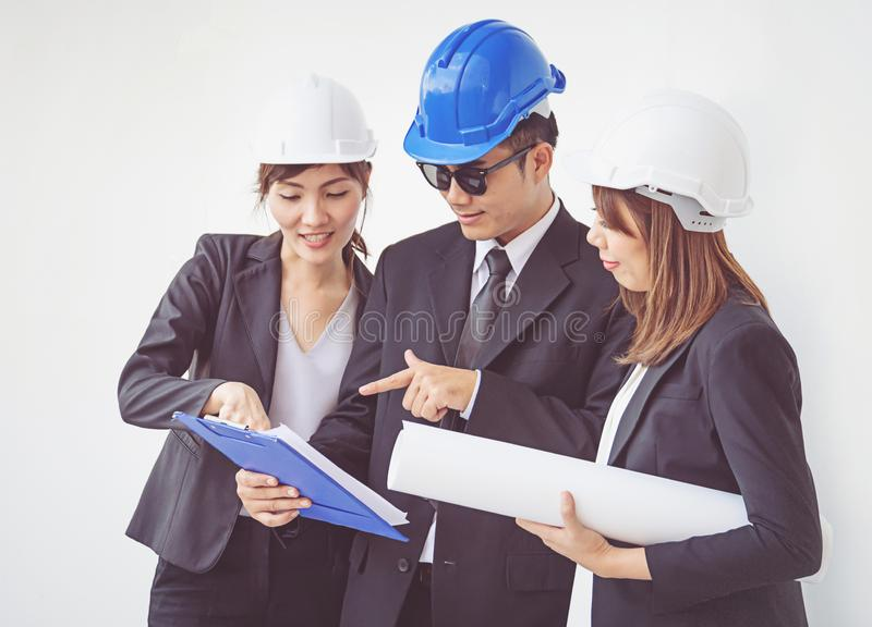 Business manager and engineer meeting project at construction si. Te, work stock images