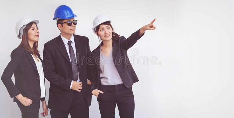 Business manager and engineer meeting project at construction si royalty free stock photo