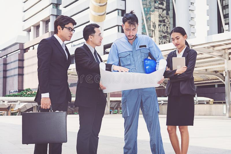 Business manager and engineer meeting project at construction si royalty free stock images
