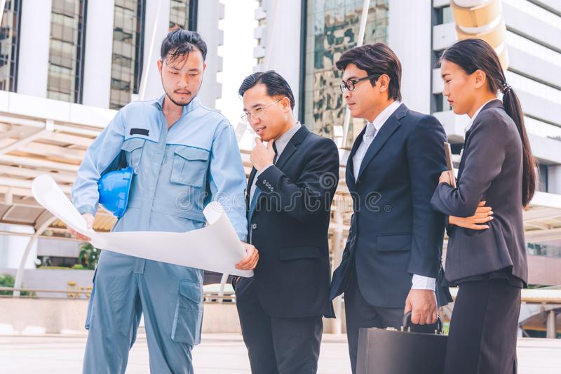 Business manager and engineer meeting project at construction si royalty free stock photos