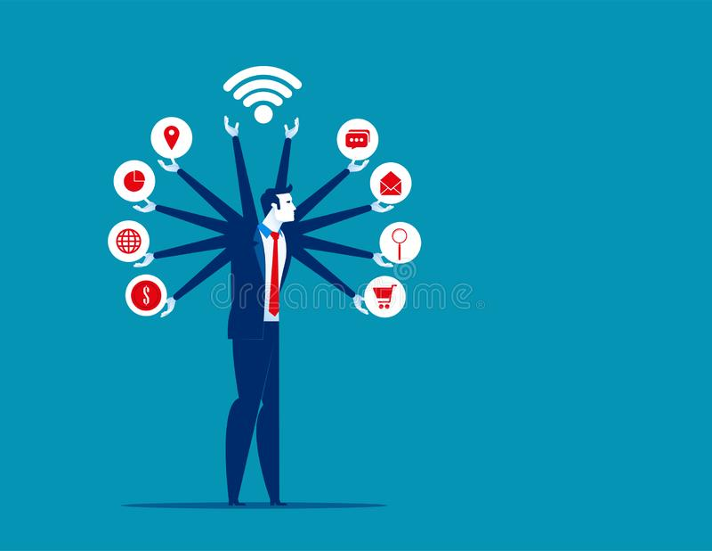 Business Manager i multitasking ikony Pojęcie biznesowa wektorowa ilustracja, kontemplacja, analiza, osiągnięcie Biznes ilustracji