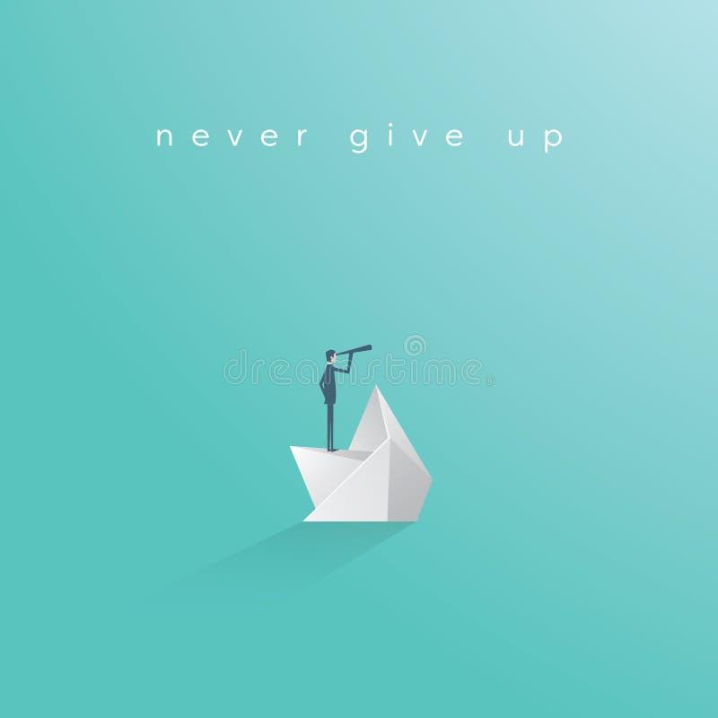 Business manager on sinking paper boat vector concept. Symbol of hope, determination, motivation, leadership. Eps10 vector illustration royalty free illustration
