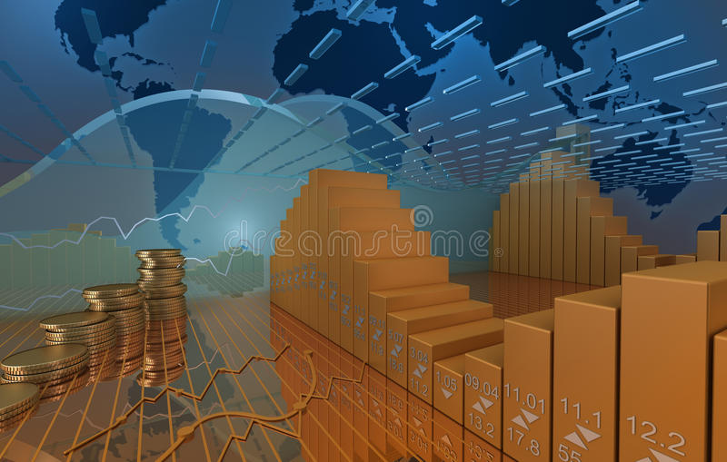 Business market background with coins and stock diagramm. 3D image render royalty free illustration