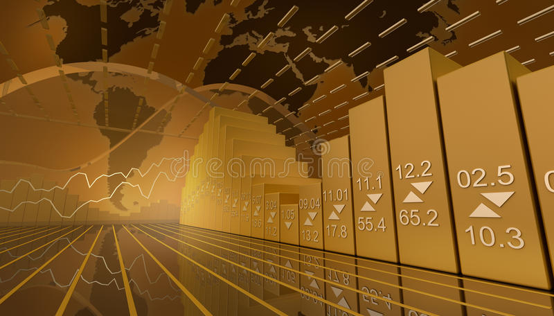 Business market background with stock diagramm. 3d background royalty free illustration