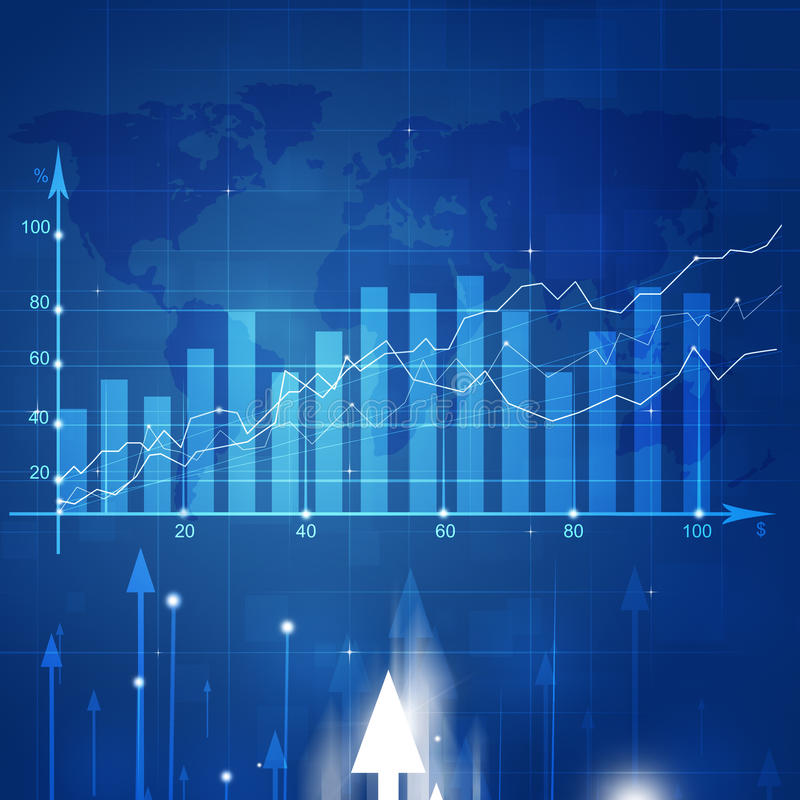Business Market Stock Diagram. Abstract financial stock market diagram on blue background stock illustration