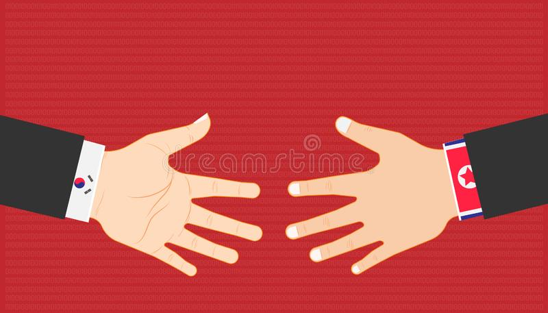 Business marketing concept. country leader shake hand between north and south korea for trade relations. vector illustration eps10 stock illustration