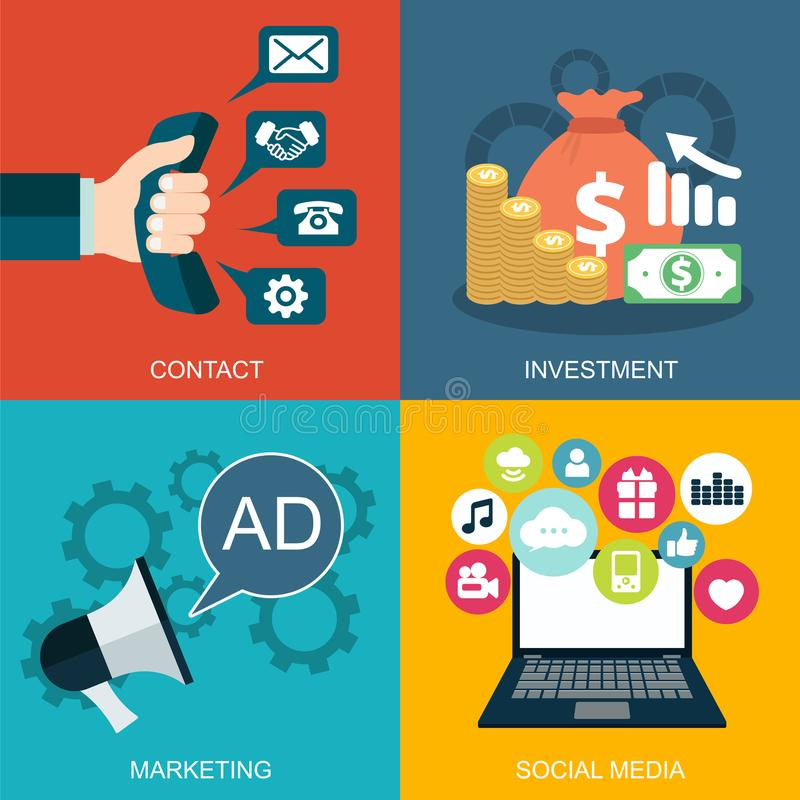 Business, marketing and finance concepts. Design elements for web and mobile applications. Vector collection of flat and colorful business, marketing and finance vector illustration