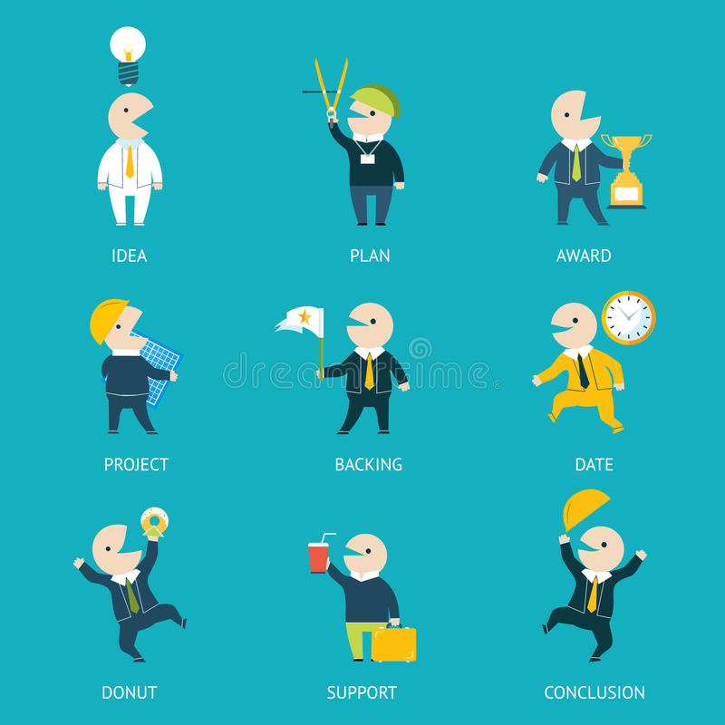 Business and Marketing Icons Set Plan Concept stock illustration