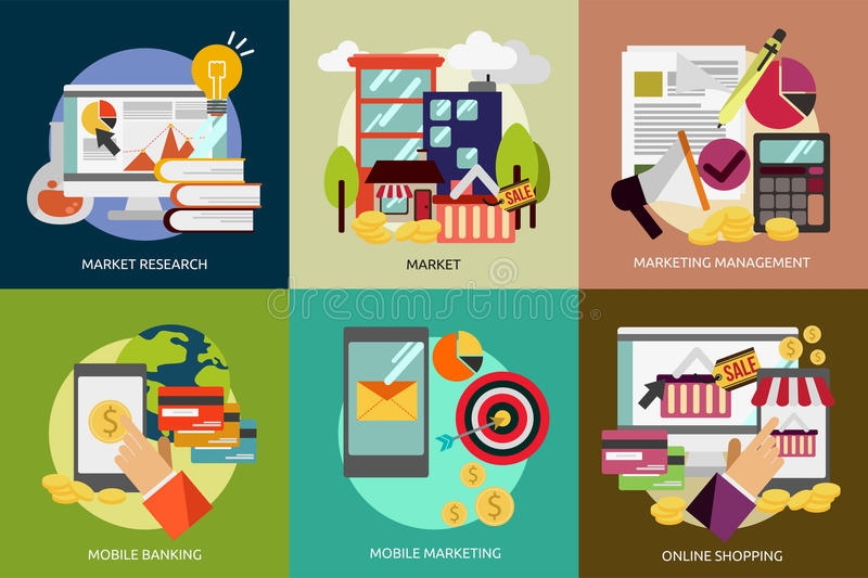 Business and Marketing. Set of great flat icons with style long shadow icon and use for business, marketing, working, idea, event and much more royalty free illustration
