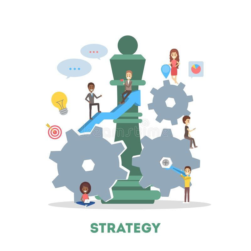 Business and marketing strategy concept. Idea of teamwork royalty free illustration