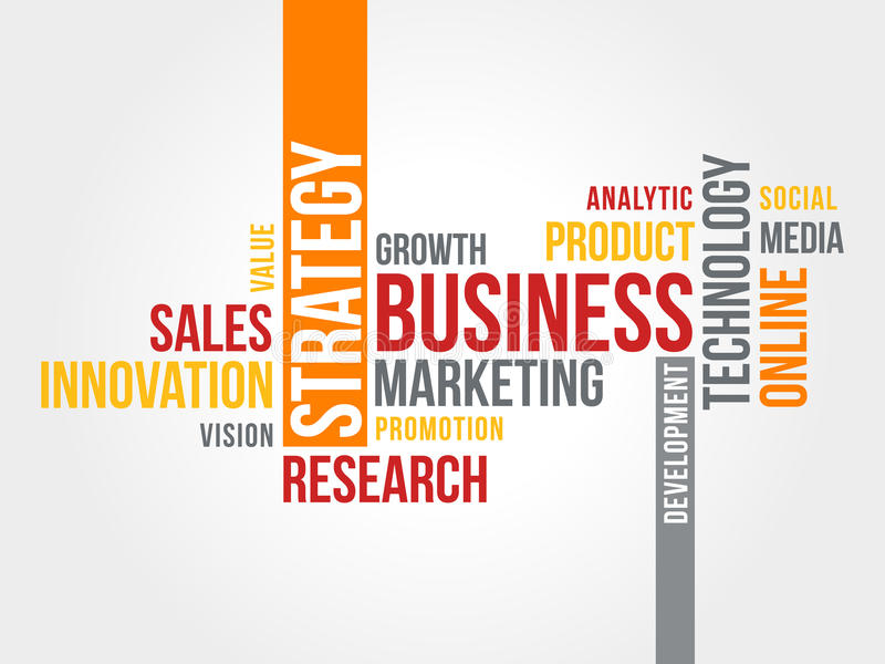 Business Marketing Strategy Word Cloud stock illustration
