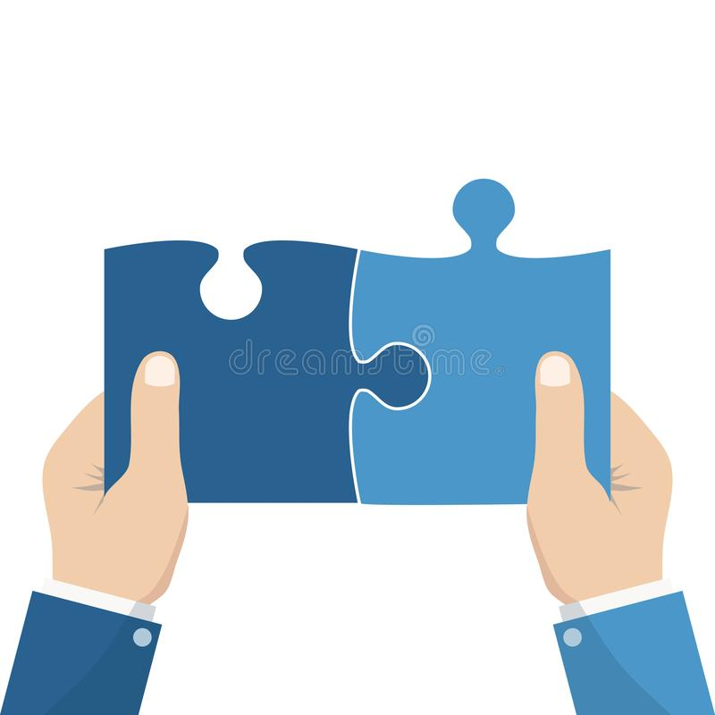 Business matching concept. Connecting elements puzzle in hand businessman. Working together to solve problems. Cooperation, vector illustration