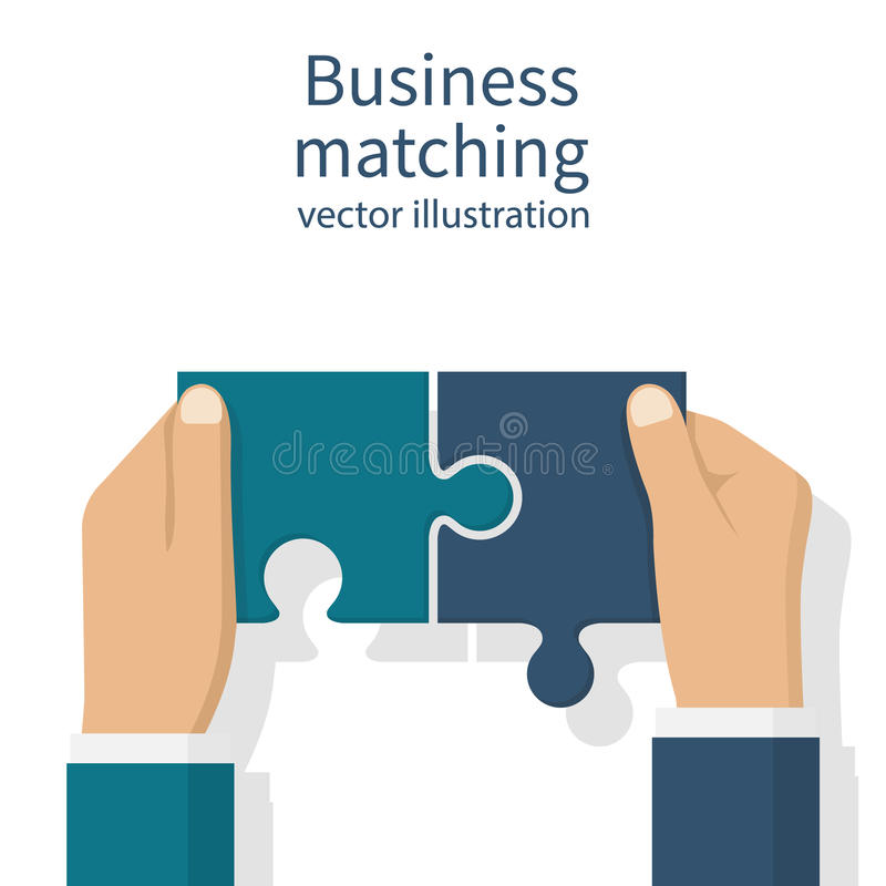 Business matching concept. Connecting elements puzzle in hand businessman. Working together to solve problems. Cooperation, association, alliance companies stock illustration