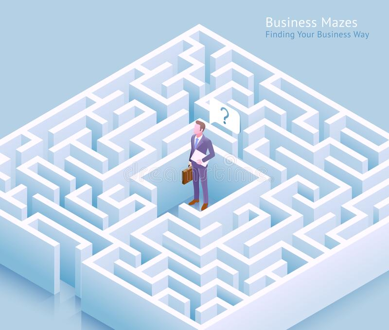 Business maze conceptual design. Businessman standing at labyrinth and thinking of finding a way out vector. Illustration royalty free illustration