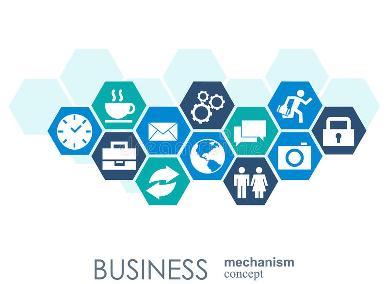Business mechanism concept. Abstract background with connected gears and icons for strategy, service, analytics. Research, seo, digital marketing, communicate stock illustration
