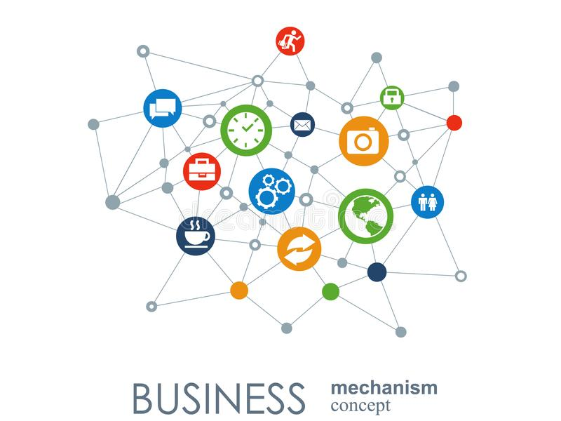 Business mechanism concept. Abstract background with connected gears and icons for strategy, service, analytics. Research, seo, digital marketing, communicate royalty free illustration
