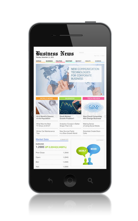 Business media on modern smartphone royalty free illustration