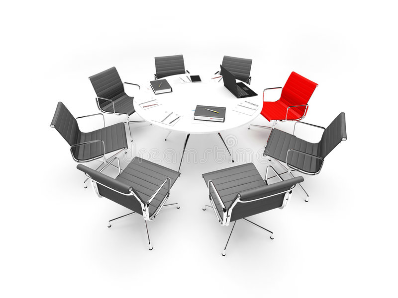 Business meeting. 3d render of scene with business chairs, table, laptop and writing-materials royalty free illustration