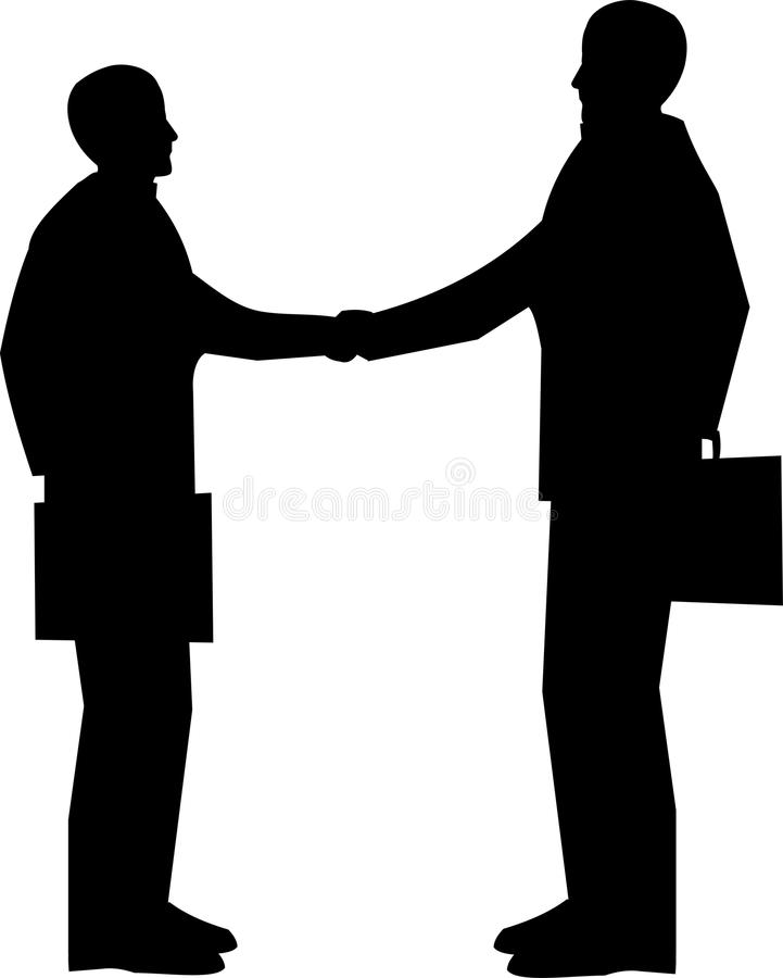 Business meeting. Two men with briefcases shaking hands in silhouette over white stock illustration