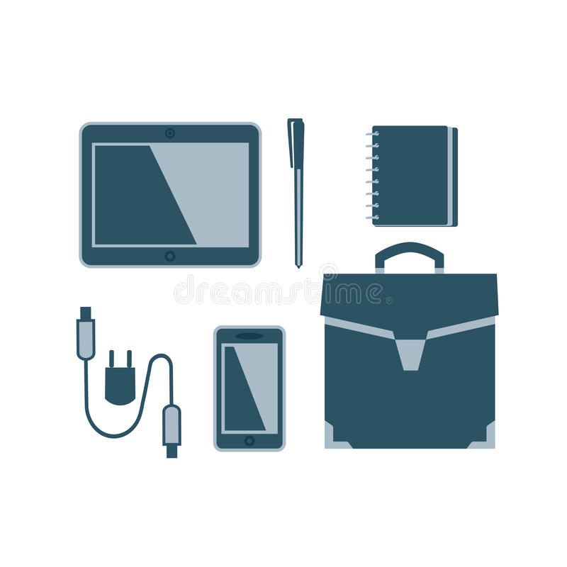 Business meeting accessories. Icons set. Flat style. Briefcase, notebook, pen. Leather travel bag sign. USB cable, tablet, mobile phone. Vector symbol of stock illustration