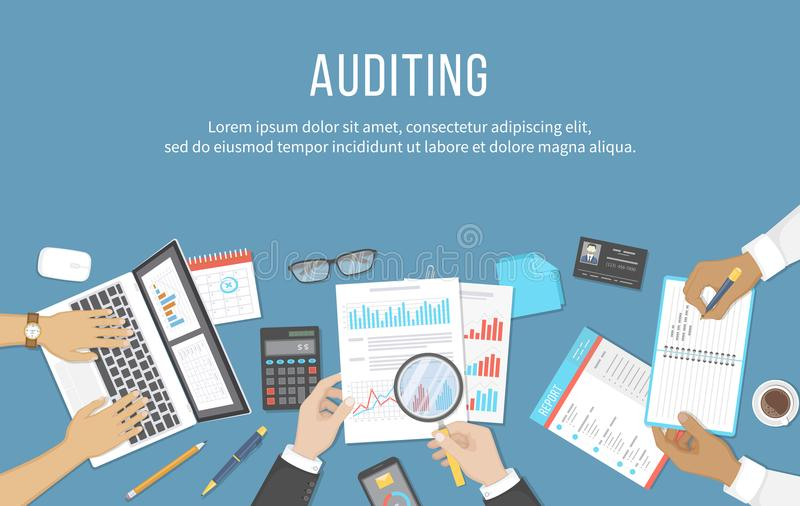 Business meeting, audit, calculation, data analysis, reporting, accounting. People at the desk at work. vector illustration