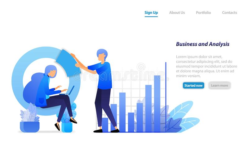 Business meeting, bar charts and circles for financial analysis, developing company profits. Business vector illustration concept. For landing page, web, ui stock illustration