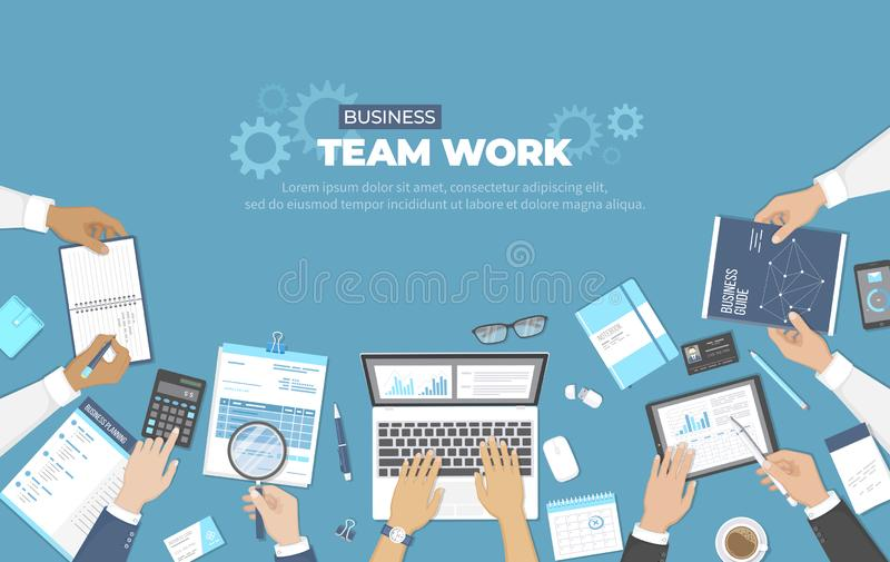 Business meeting and brainstorming. Office team work concept. Analysis, planning, consulting, project management. Businessmans vector illustration