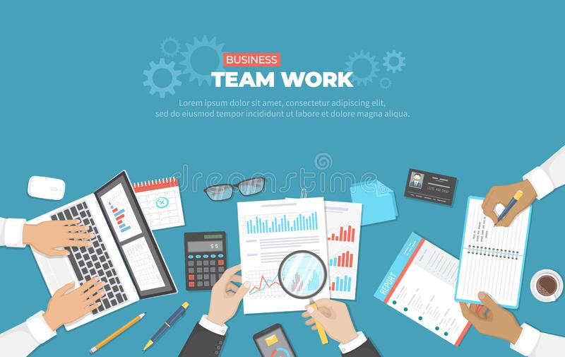 Business meeting and brainstorming. Office team work concept. Analysis, planning, reporting, consulting, project management. royalty free illustration