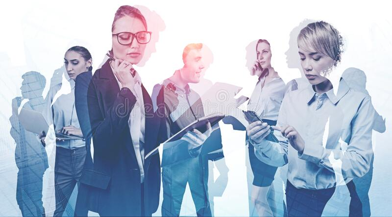 Business meeting concept, communication and team. Diverse business people working together in abstract city. Business meeting and teamwork concept. Toned image stock image