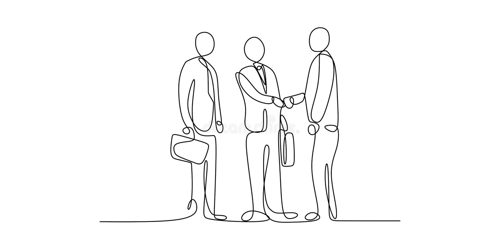 Business meeting concept. Continuous line art drawing of people community with shaking hands vector illustration. Teamwork man outline success isolated walking stock illustration