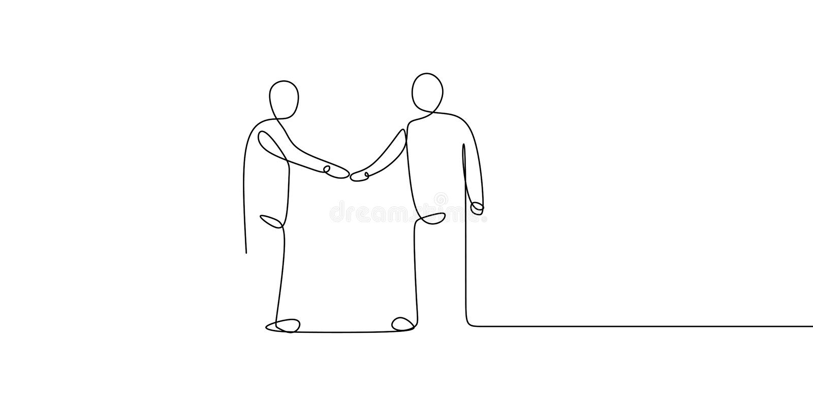 Business meeting concept. Continuous line art drawing of people community with shaking hands vector illustration. Teamwork man outline success isolated walking vector illustration