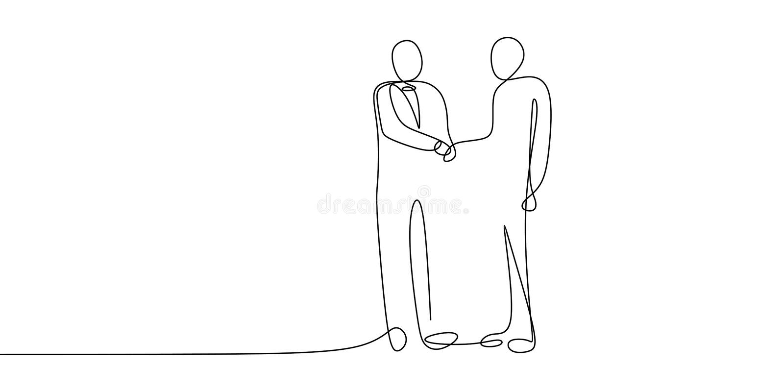 Business meeting concept. Continuous line art drawing of people community with shaking hands vector illustration. Teamwork man outline success isolated walking royalty free illustration