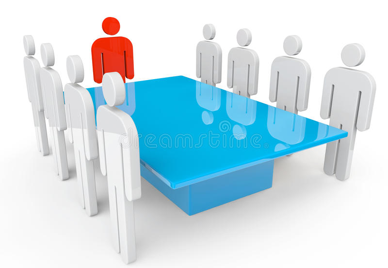 Persons with leader around table stock photo