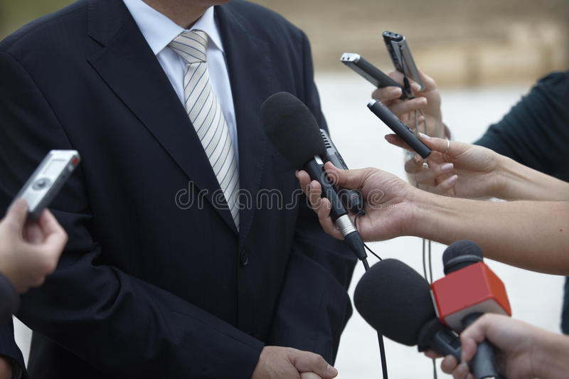 Business meeting conference journalism microphones stock photography