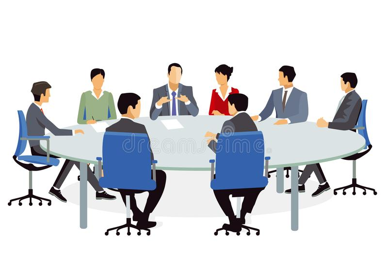 Business meeting at conference table stock illustration
