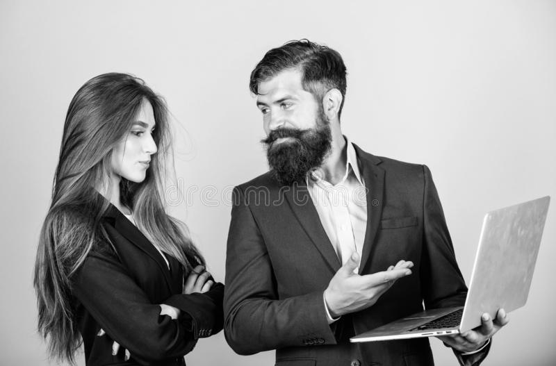 Business meeting. Discussing progress. Man bearded manager show financial report laptop. Woman and guy colleague working stock photography