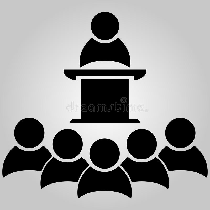 Business meeting, discussion. Public Speaker on the pedestal. Teamwork activity. White Collar Worker. Vector illustration. Business meeting, discussion. Public stock illustration