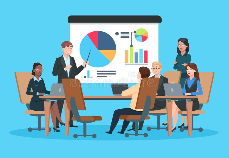 Business meeting. Flat people on presentation conference. Businessman at project strategy infographic. Team seminar. Vector concept. Illustration of conference stock illustration