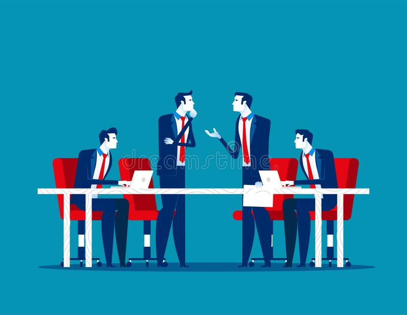 Business meeting. Group of company strategy conference. Concept business vector illustration, Team meeting, Members, Discussion,. Flat business cartoon stock illustration