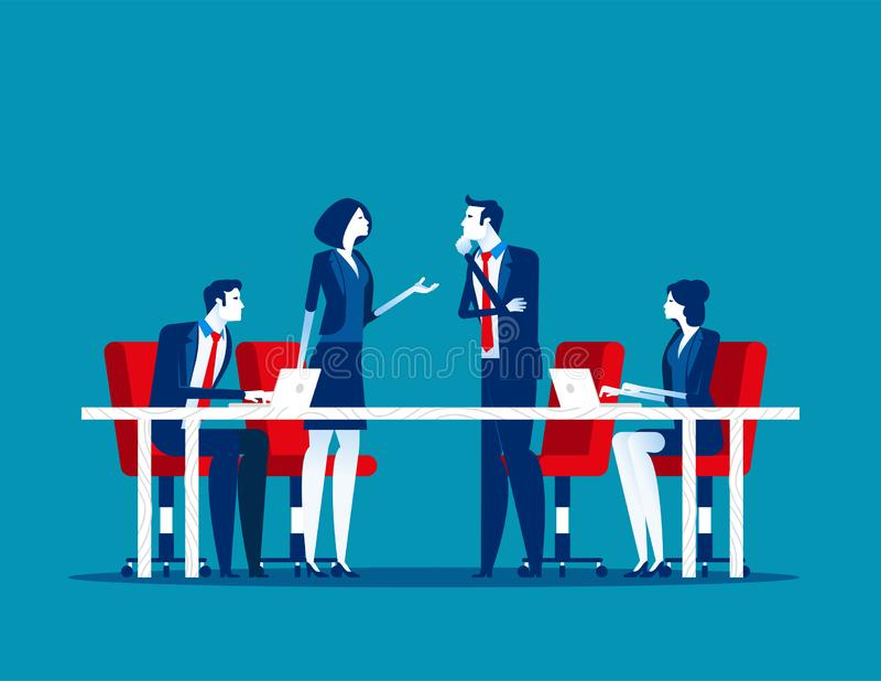 Business meeting. Group of company strategy conference. Concept business vector illustration, Team meeting, Members, Discussion,. Flat business cartoon vector illustration