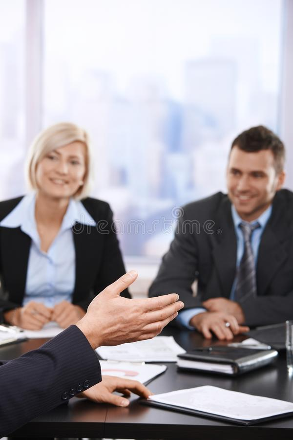 Business meeting, hand in closeup royalty free stock images
