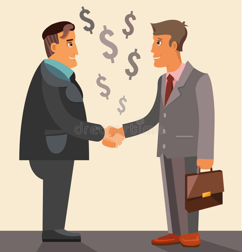 Business meeting and handshake. Two businessmen have a deal with huge money vector illustration