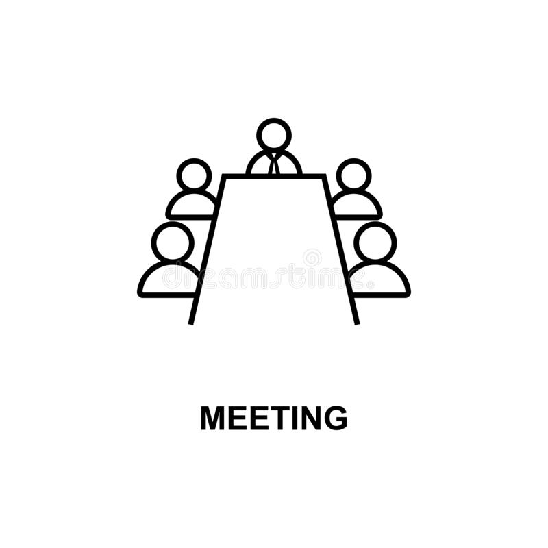 business meeting icon. Element of conference with description icon for mobile concept and web apps. Outline business meeting icon vector illustration