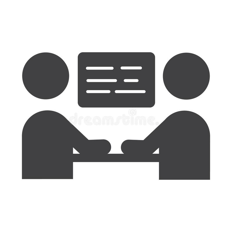 Business meeting icon. Vector sign symbol with two person talking. For website or mobile apps stock illustration